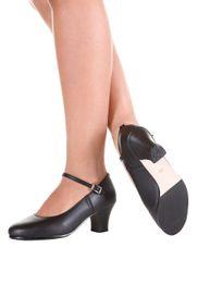 Sapato-Tacheado-para-Flamenco-Sintetico---F-16---Preto